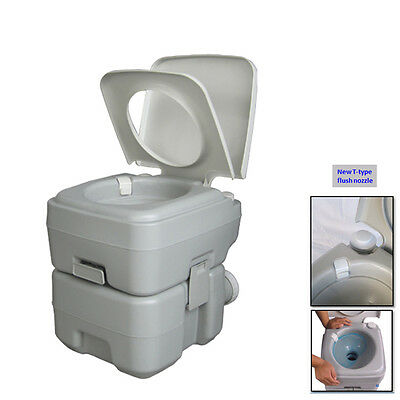 20L Tank Portable Toilet Flush Camping Potty with Upgrades T-type Flush Nozzle