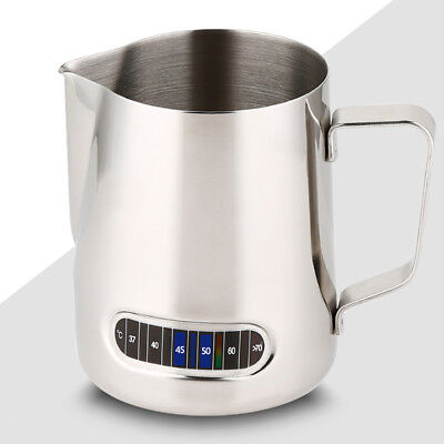 0.6L Milk Coffee Pitcher Espresso Frothing Stainless Steel Thermometer Jug