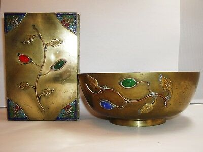 Antique Chinese Brass Bow & Cloisonne Enamel Hinged Box Circa 1900's  **LOOK*