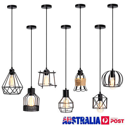 Industrial Vintage Metal Cage Ceiling Pendant Light Holder Lamp Shade Fixtures