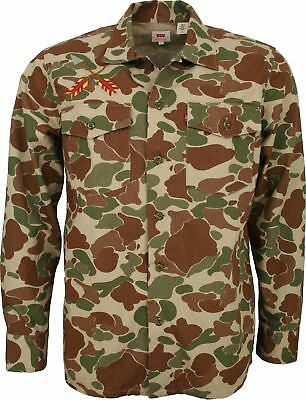 MENS LEVIS MILITARY STYLE CAMO SHIRT - Long Sleeve Heavy Duty with Embroidered D