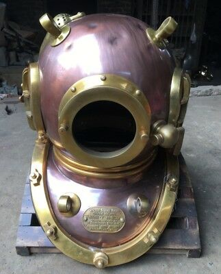 Vintage Solid Copper Brass Scuba Divers Diving Helmet Royal Navy Marine Gift