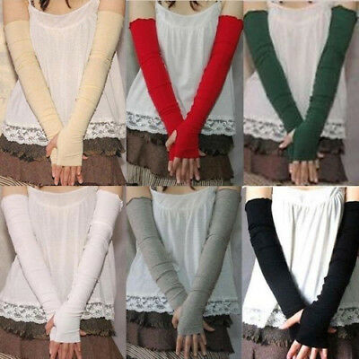 Uv Sun Protection Arm Warmer Long Fingerless Cotton Gloves Sleeves Fashion Stric