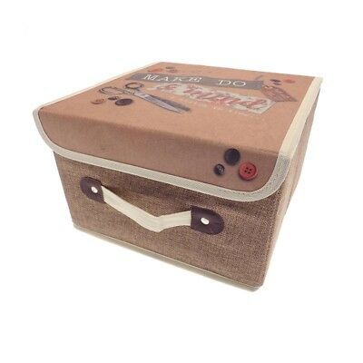 Brown and Beige Sewing Knitting or Craft Storage Box 28cm x 28cm x 17cm NEW