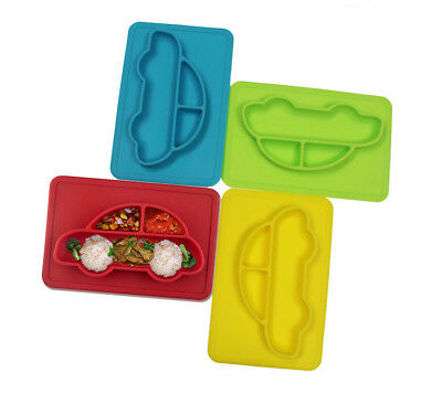 Kids Cute Silicone Mat Baby Feeding Suction Table Food Tray Placem Bowl Dish