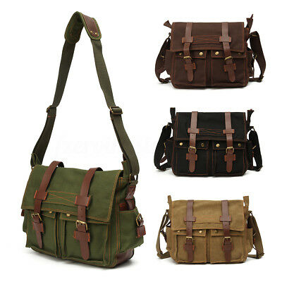 Men's Vintage Canvas Messenger Shoulder Satchel Laptop Bag School bag