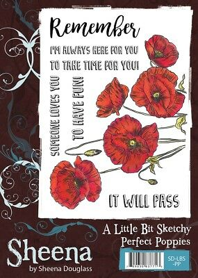 Sheena Douglass A Little Bit Sketchy A6 Unmounted Rubber Stamps Perfect Poppies