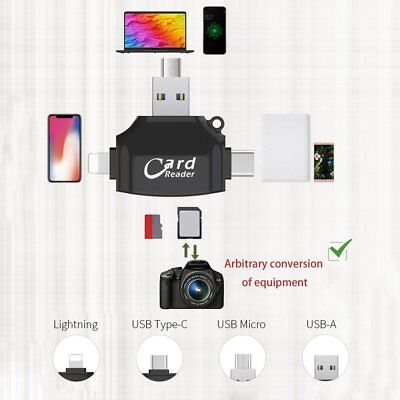 4 In 1 Micro SD TF Card Reader for Lightning iOS/OS X/PC Android lot NEW new H