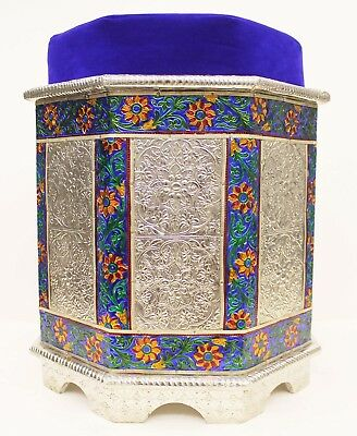 Indian Traditional Design Silver Metal coated wooden Stool Furniture UK004MF
