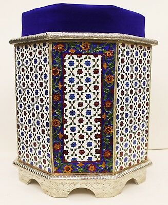 Indian Traditional Design Silver Metal coated wooden Stool Furniture UK003MF