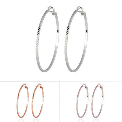 c7a19e56e6f62 LARGE 18K 18CT Rose White Gold Filled GF 5.3cm Hoop Earrings EA706 ...