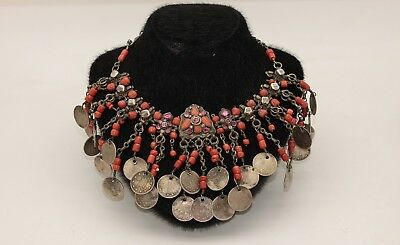 Antique Original Perfect Ottoman Silver  Coral Decorated  Amazing Necklase