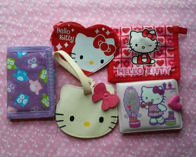 Lot of 5 Hello Kitty & Owls Wallets Pouches Purses Luggage Tag Sanrio Cute