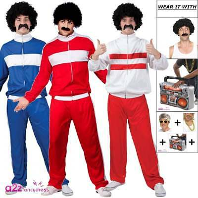 80's Retro Trackie Tracksuit Shell Suit Costume Mens Fancy Dress Outfit Wig 80s