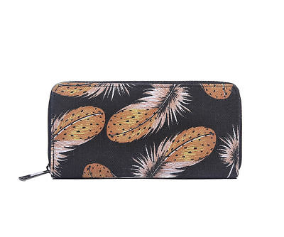 Ladies Girls Colourful Feather Print Zip Purse Wallet BLACK or RED