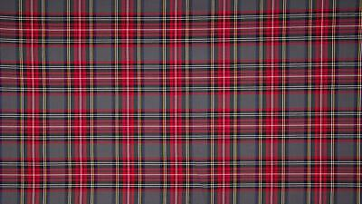 SCOTTISH CHECK Tartan Fabric Material - RED GREY GREEN
