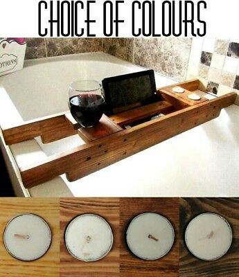 WOOD BATH CADDY Shelf Board Tablet Wine Holder Rustic Colour FREE SCENTED CANDLE