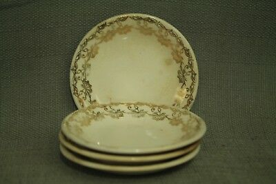 lot 4 little antique old butter pat plate dishes white gold floral decoration