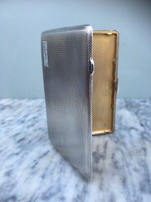 Large Engine Turned Silver Cigarette Case by E J Houlston, Birmingham 1946