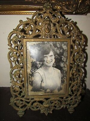 """LARGE Ornate Antique Brass Table top Picture Frame with Face 13"""""""