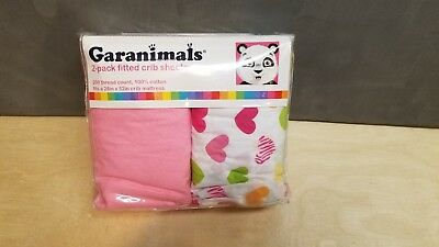 """NEW Garanimals 100% Cotton Fitted Crib Sheets 2-Pack, Size 28"""" x 52"""" (4-A)"""