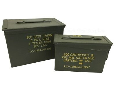 2 US Military Ammo Cans: Fat 50 Saw Box & 30 Cal Ammo Can