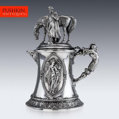 ANTIQUE 19thC VICTORIAN MONUMENTAL SOLID SILVER FIGURAL FLAGON c.1868
