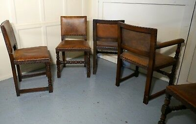 Set of 6 Gothic Oak and Leather Jacobean Style Dining Chairs