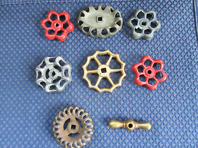 Lot Of 8 Vintage Antique Cast Iron & Aluminum Water Valve Handles Knobs...