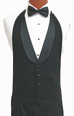 Black Wool Open Back Tuxedo Vest & Bow Tie Set Satin Shawl Lapel Wedding Mason
