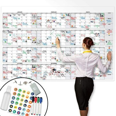 "Large Dry Erase Wall Calendar - 58"" x 38"" - Blank 2018-2019 Reusable Annual Plan"