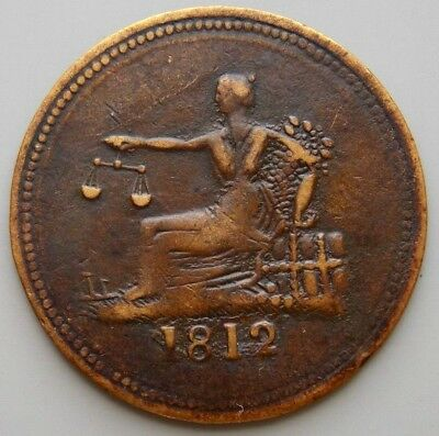 """1812 LC-48C2 Lower Canada Canadian  Colonial 1/2 Penny """"Tiffin"""" Token"""