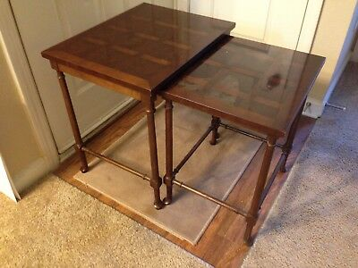 Baker Mahogany Double Nesting Table Metal Tag Great Quality Gift Excellent Buy