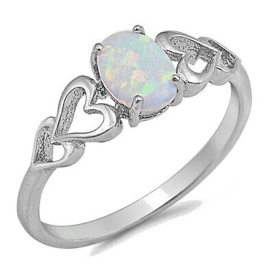 White Lab Opal Oval Heart Cutout Promise Ring .925 Sterling Silver Sizes 4-10