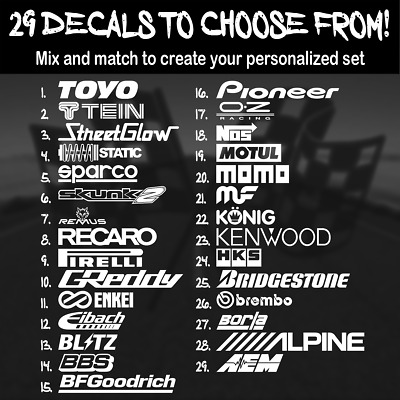 Automotive Sponsor Decals (Customize your own!) JDM Car Racing Drift Sticker 030