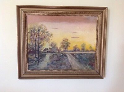 Vintage Oil Board Painting Framed Unsigned Bucolic Landscape Country Farm House