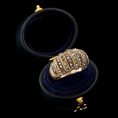 Antique Vintage Deco Style Sterling Silver Marcasite Billowed Band Ring Sz 7.25