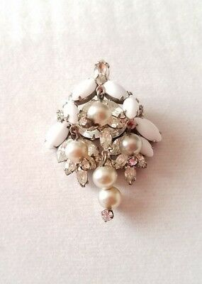 Vintage Milk Glass and Rhinestone w/ Pearls Silver Tone Pendant/Brooch