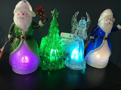 Acrylic Led Christmas Decor Lot Includes Christmas Tree 2 Santa's Angel Nwt