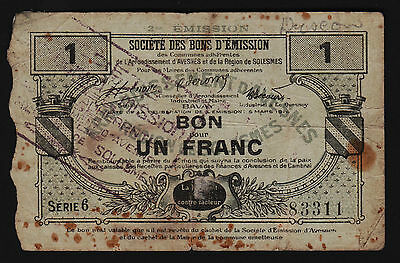 """France Emergency Note Un Franc 1916 Company of the """"Bons d'Emission"""""""