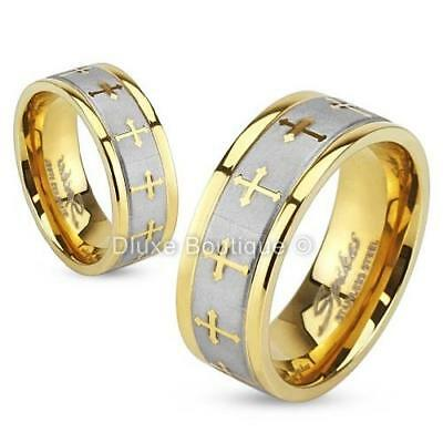 Stainless Steel 316L Gold IP Brushed Celtic Cross Wedding Band Ring Size 5-13