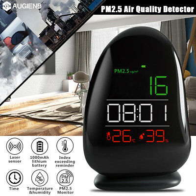 AUGIENB Laser Sensor Air Quality Monitor PM2.5 Detector Temp Humidity Meter Time