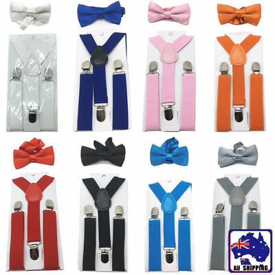 Kids Boys Girls Costume Elastic Suspender And Bow Tie Sets Dress Up CSUS935