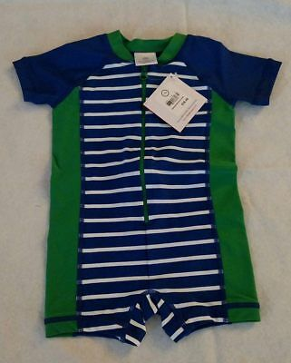 NWT Hanna Andersson Swimmy Rash Guard Striped 1PC Swimsuit 75 12-18 Months Boy