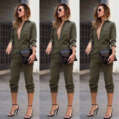 US Army Green Women Playsuit Bodycon Party Jumpsuit Romper Trousers Clubwear