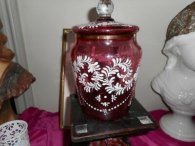 Large painted ruby glass cookie jar with lid.
