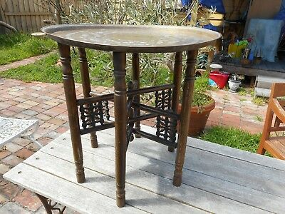 Antique foldable table with brass tray