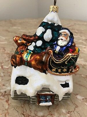 UP ON THE ROOFTOP Santa Sleigh Christopher Radko Glass Christmas Ornament