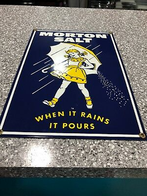 "Ande Rooney ""morton Salt"" Porcelain/enamel-Metal ""sign When It Rains It Pours"""