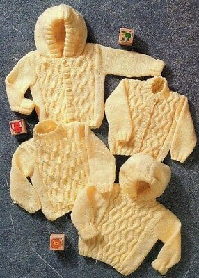 ARAN Knitting Pattern for Baby Toddlers Sweater Cardigan with/without hood